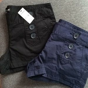 2 Pairs of Express Shorts Black & Navy Blue